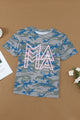 Women Green Blue Short Sleeve MAMA Graphic Modern Camo Tee