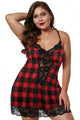 Red Plaid Venecia Lace Trim Plus Size Chemise