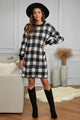 Black Plaid Gingham Balloon Sleeve Sweater Dress
