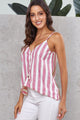 Red Striped Button Up V Neck Strappy Shirt Cami Top