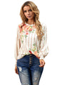 Chic Apricot Crewneck Floral Printed Balloon Sleeves Blouse