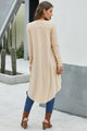 Apricot Selected Button Down Pocketed Knit High Low Long Cardigan