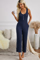 Fashion Blue Pocketed Thermal Sleeveless Jumpsuit