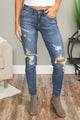 Women's Blue Hollow Out Vintage Skinny Ripped Jeans