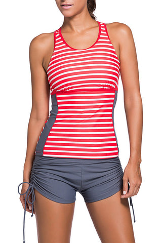Active Striped Racerback Tankini and Swim Shorts