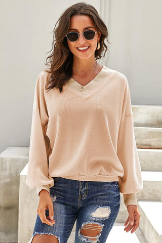 Apricot V Neck Our Country Roads Thermal Top