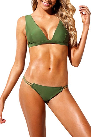 Army Green Roped Up Skimpy 2pcs Bikini Swimsuit