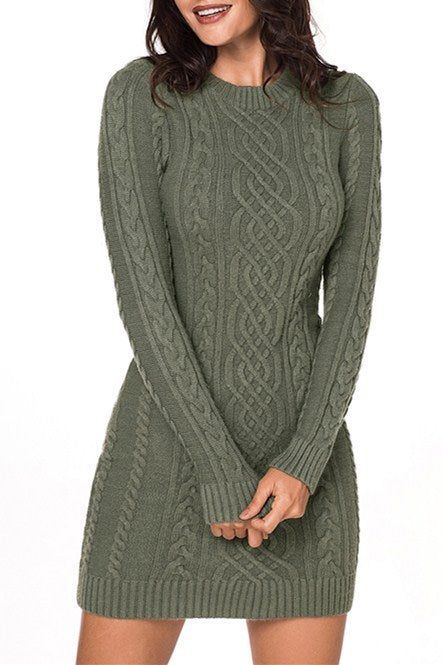 59e914de35c0a3 Army Green Slouchy Cable Mini Sweater Dress MB7865-11 – ModeShe.com