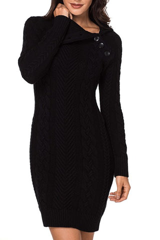 Asymmetric Buttoned Collar Black Bodycon Sweater Dresses