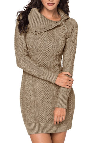 Asymmetric Buttoned Collar Brown Bodycon Sweater Dress