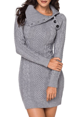 Asymmetric Buttoned Collar Grey Bodycon Sweater Dress