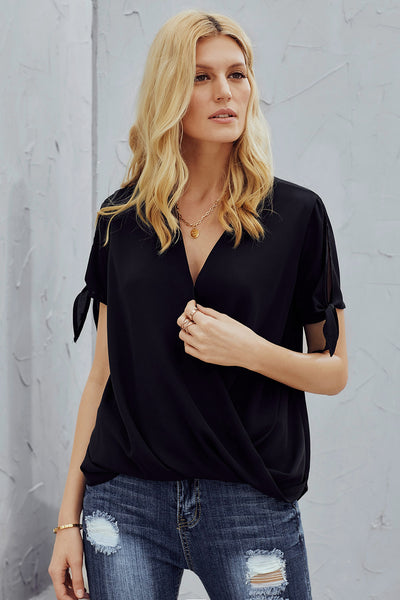 Elegant Black Charismatic Drape Short Sleeve Blouse