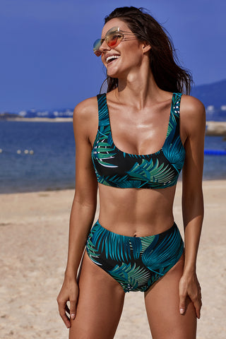Black Green U-neckline Tropical High Waist Tankini