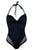 Black Lace Mesh Adjustable Halter V Neck One Piece Swimsuit