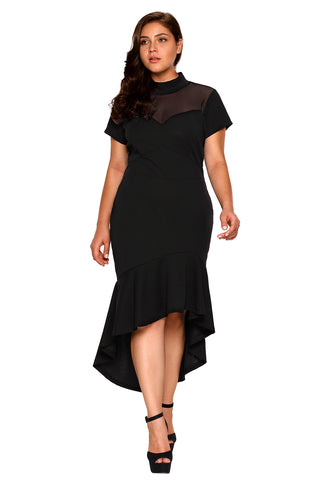 Black Mesh Turtleneck Ruffled Hi-low Hem Curvy Dress