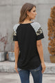 Black Striped Leopard Print Short Sleeve T-shirt For Women