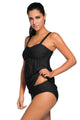 Black 2 Piece Swing Push Up Tankini Swimsuit