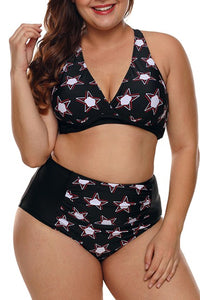 Black 2pcs Starry Plus Size High Waisted Bathing Suit