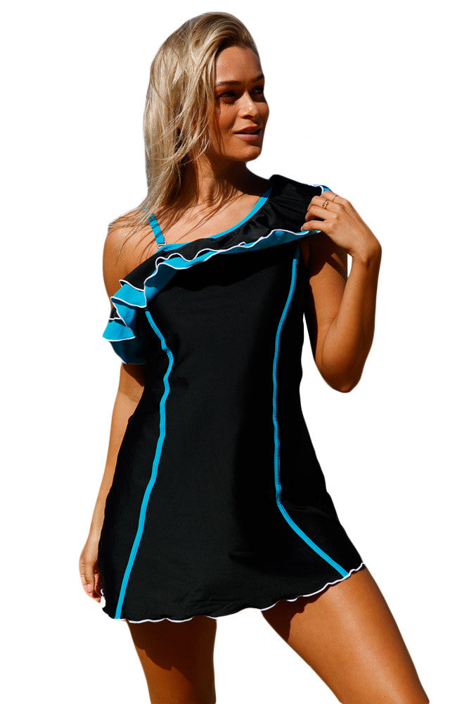 Black Blue Ruffle One Shoulder Swim Dress with Shorts