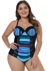 Black Blue Striped Block Patchwork Plus Sise One Piece Piece Swimsuit