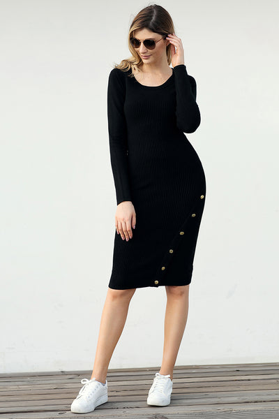 Black Bodycon Button Detail Knee Length Sweater Dresses