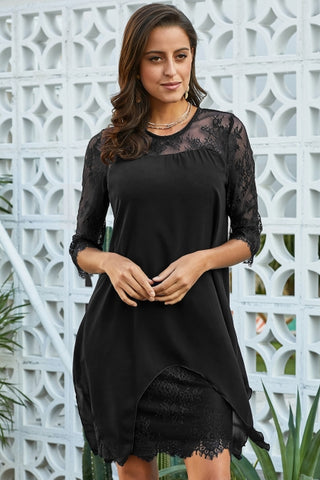 Black Chiffon Overlay Three Quarter Sleeve Midi Dress