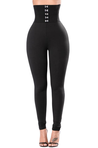 Black Corset Belt High Waist Leggings