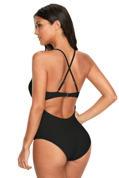 Black Crochet Deep V Neck Monokini Swimsuit