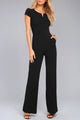 Black Daily Fashion Short Sleeve Wide Leg Jumpsuit