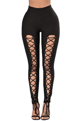 Black Grommet Lace Up Front High Waist Leggings