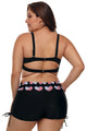 Black Heart American Flag Plus Size Two Piece Swimsuit