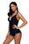 Black Lace Adorned Tankini Set