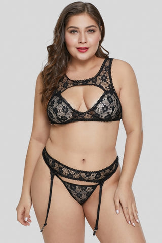 Black Lace Hollow-out Bust Plus Size Bralette Set