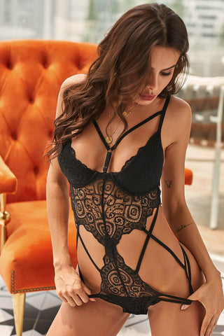Black Lace Hollow Out Royce Push Up Bodysuit