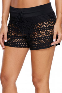 Black Lace Shorts Attached Swim Bottom