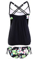 Black Layered-Style Floral Tankini Swimwear with Triangular Briefs