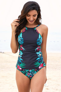 Black Leaf & Flower Print Ruched Tankini Set
