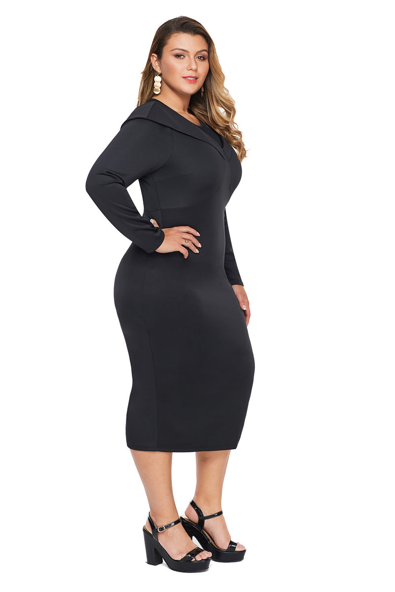 Black Mesh Neck Patchwork Long Sleeve Plus Size Midi Dress
