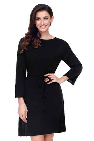 Black O-Neck Long sleeve Knit Sweater Dress
