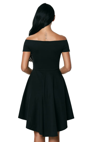 Black Off Shoulder Cocktail Party Skater Dress
