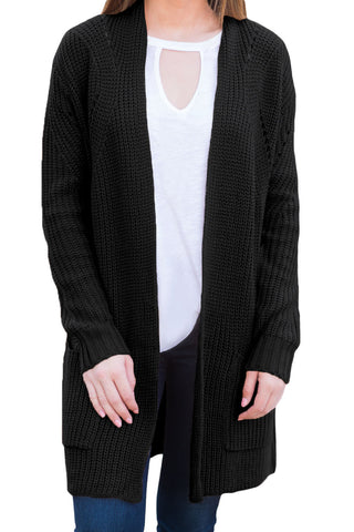 Black Open Front Women Cardigan with Pockets