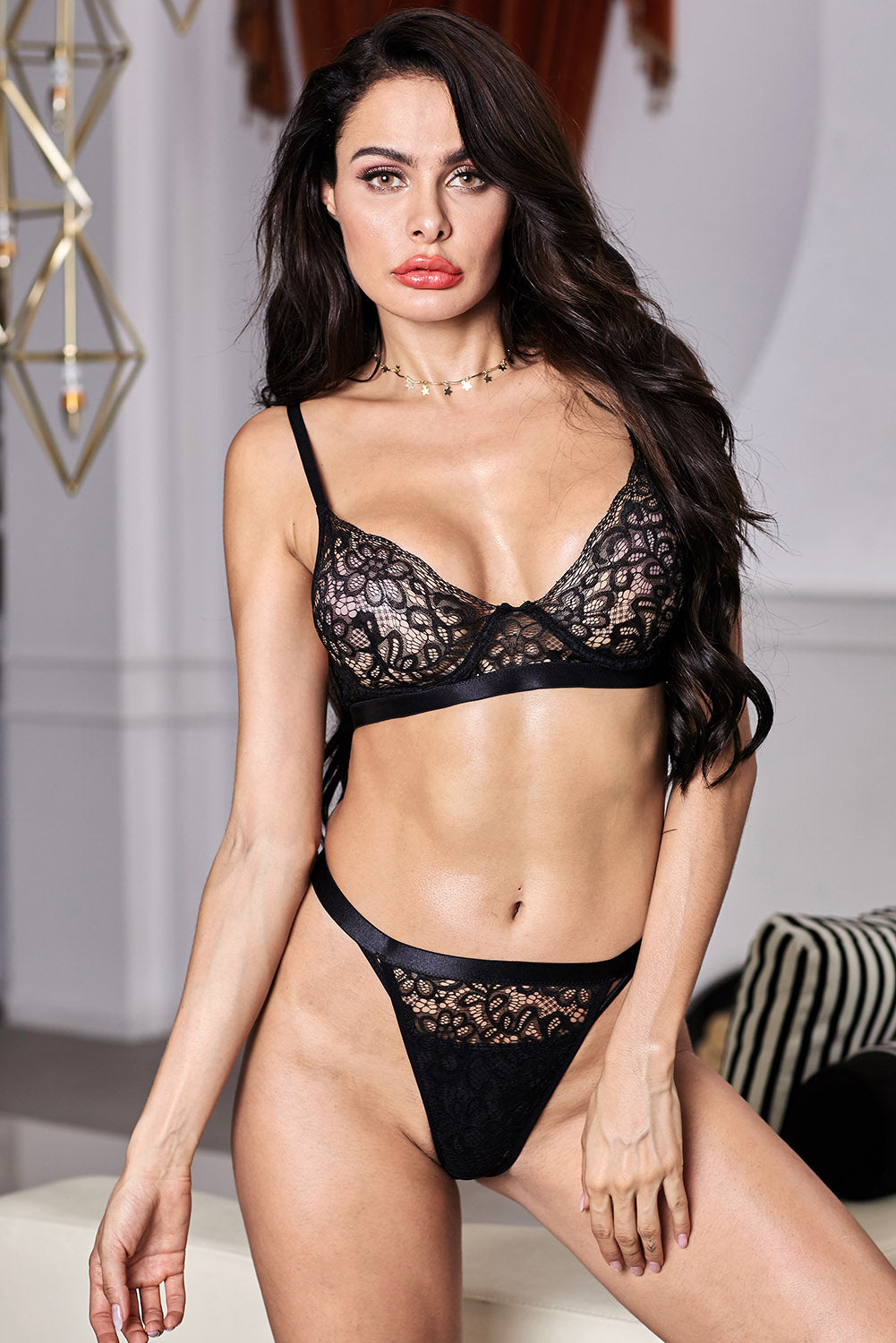 Black Romantic Night Lace Lingerie Bralette Set