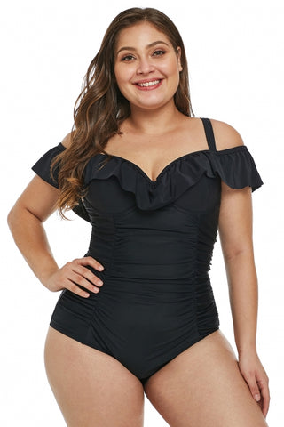 8a962ece8691c Black Ruched Ruffle Plus Size One Piece Swimsuit