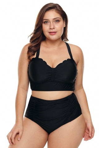 940261ab64974 Black Scalloped Detail High Waist Plus Size Bkini Swimsuit