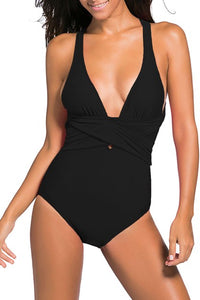 Black Self Tie Criss-Cross Straps Back One Piece Swimsuits