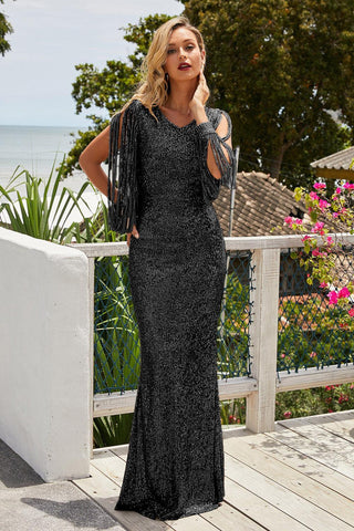 Black Sequin Fringe Sleeve Party Long Evening Dress