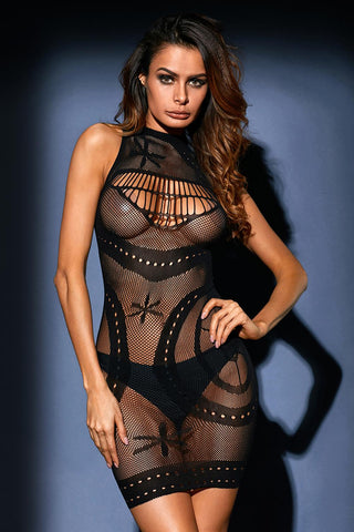Black Sleeveless Sheer Mesh Hollow Out Lingerie Dress