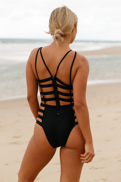 Black Strappy Cutout One Piece Bathing Suits