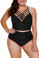 Black Strappy Neck Detail With Padded High Waist Swimsuit