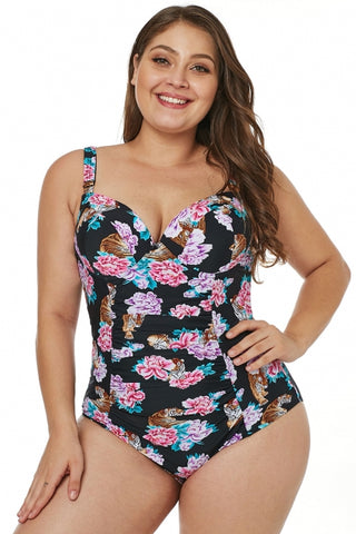 Black Tiger Floral Push-Up Plus Size One-Piece Swimsuit